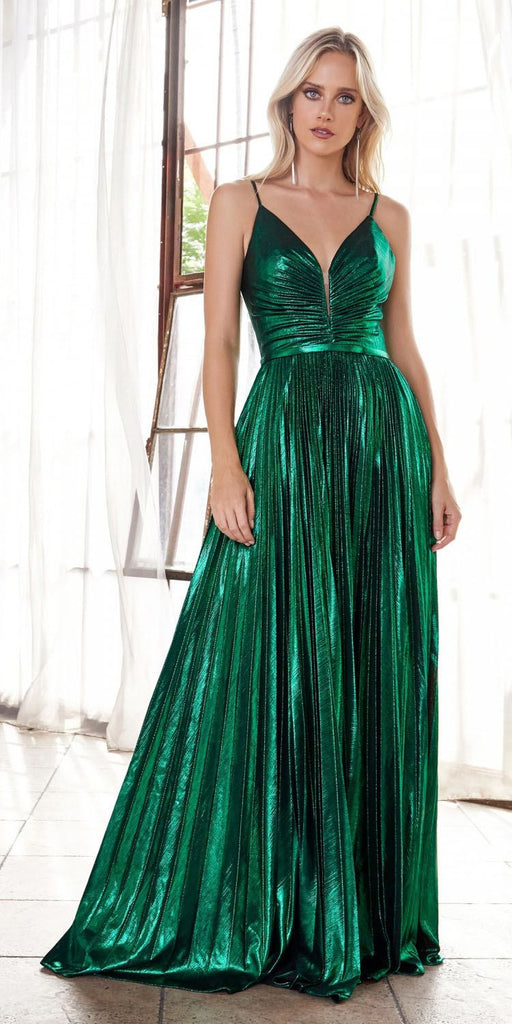 Ruched Bodice Metallic Long Prom Dress Emerald Green