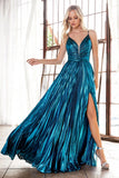 Ruched Bodice Metallic Long Prom Dress Peacock