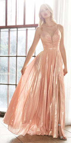 Ruched Bodice Metallic Long Prom Dress Rose Gold