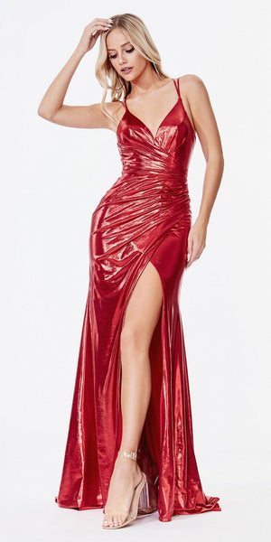 Cinderella Divine CD164 Long Fitted Gown Red Metallic Liquid Effect Gathered Waistline