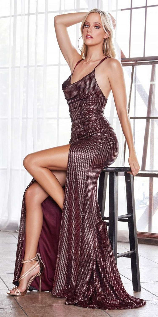 Cinderella Divine CD168 Long Fitted Iridescent Gown Wine Cowl Neckline Front Leg Slit
