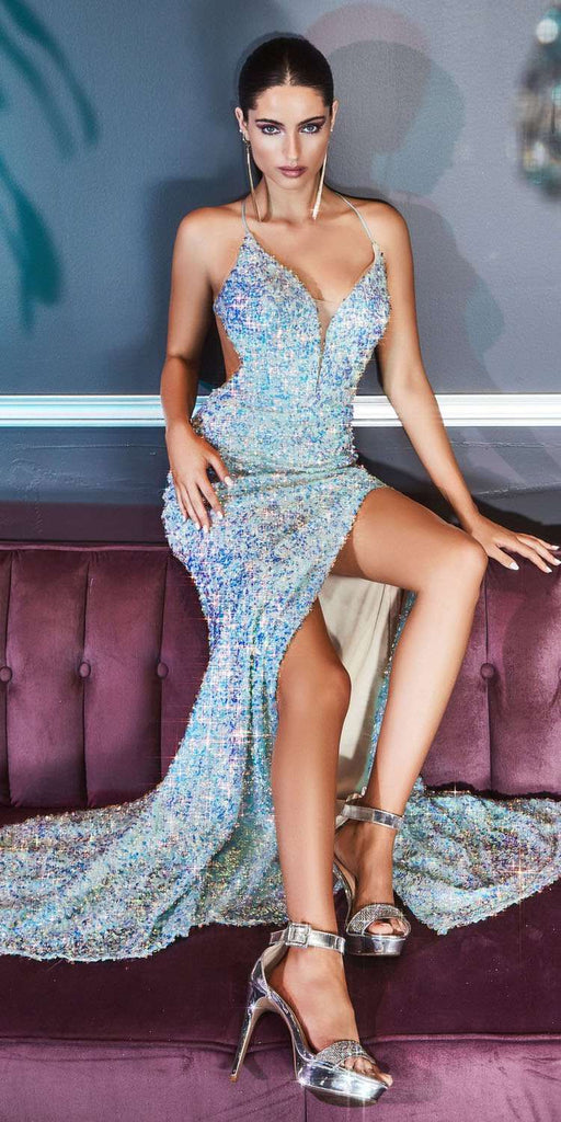 Cinderella Divine CD175 Long Fitted Sequin Gown Opal Blue Open Lace Up Back Leg Slit