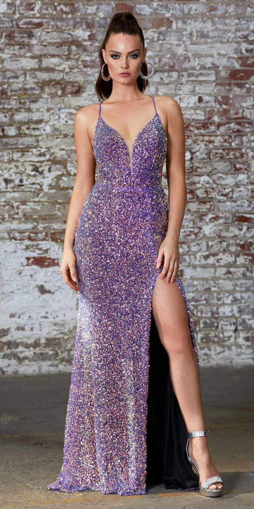 Cinderella Divine CD175 Long Fitted Sequin Gown Opal Violet Open Lace Up Back Leg Slit