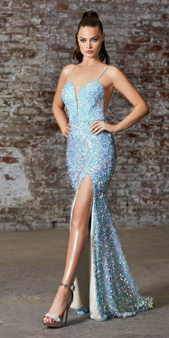 Cinderella Divine CD176 Long Sheath Iridescent Sequin Gown Opal Blue Deep Sweetheart Neck High Leg Slit