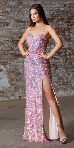 Cinderella Divine CD176 Long Sheath Iridescent Sequin Gown Hot Pink Deep Sweetheart Neck High Leg Slit