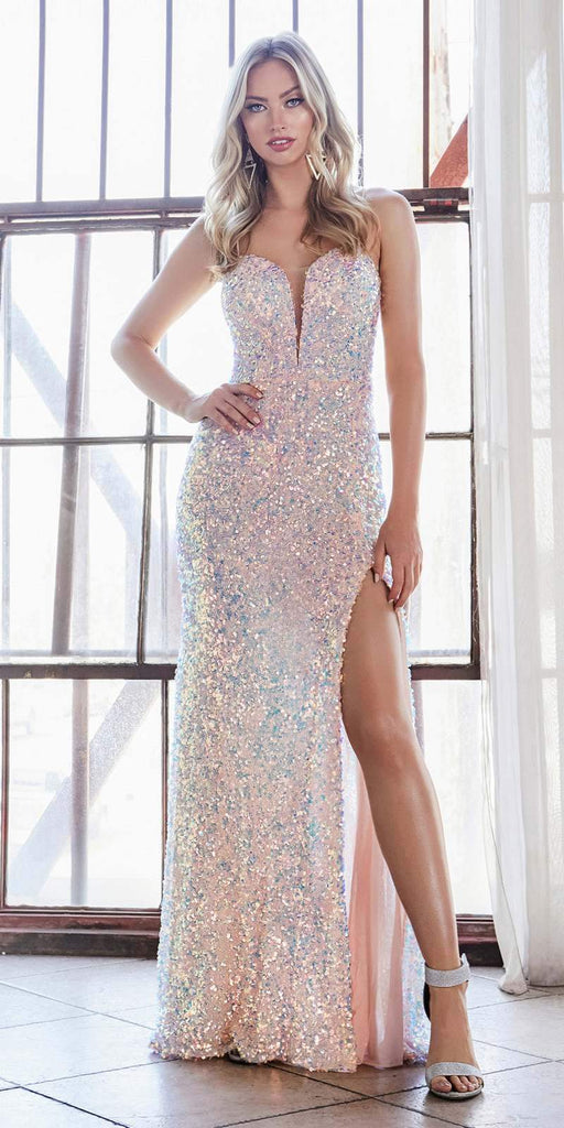 Cinderella Divine CD176 Long Sheath Iridescent Sequin Gown Opal Blush Deep Sweetheart Neck High Leg Slit