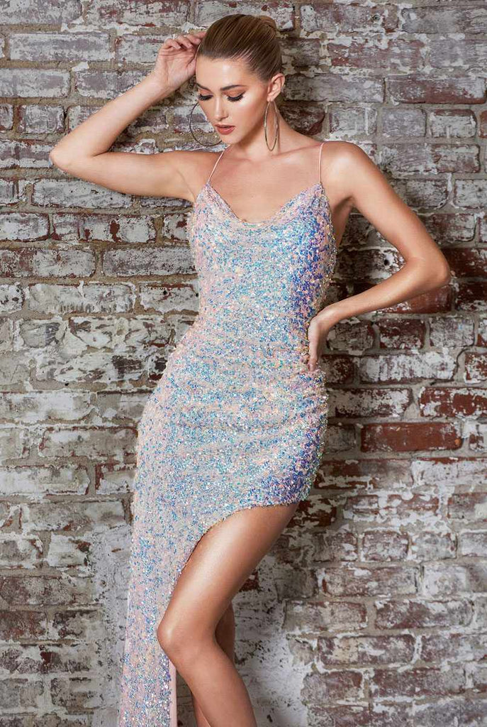 Cinderella Divine CD181 Fitted High-Low Sequin Gown Opal Blush Spaghetti Strap Cowl Neckline