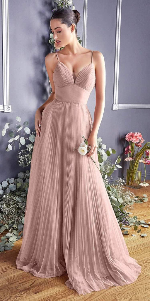 Cinderella Divine CD184 Long A-Line Tulle Dress Blush Gathered Sweetheart Neckline Pleated Finish