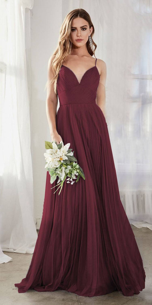 Cinderella Divine CD184 Long A-Line Tulle Dress Deep Red Gathered Sweetheart Neckline Pleated Finish