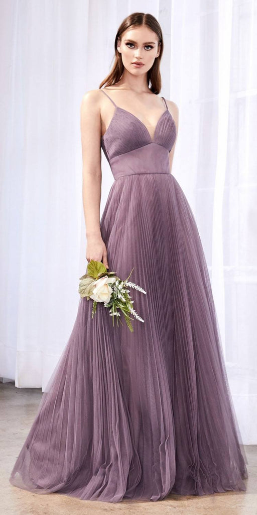 Cinderella Divine CD184 Long A-Line Tulle Dress French Lilac Gathered Sweetheart Neckline Pleated Finish