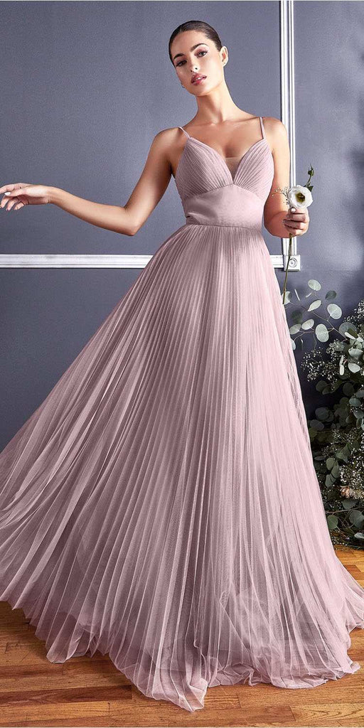 Cinderella Divine CD184 Long A-Line Tulle Dress Mauve Gathered Sweetheart Neckline Pleated Finish