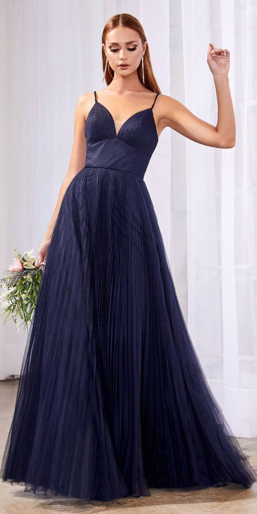 Cinderella Divine CD184 Long A-Line Tulle Dress Navy Blue Gathered Sweetheart Neckline Pleated Finish