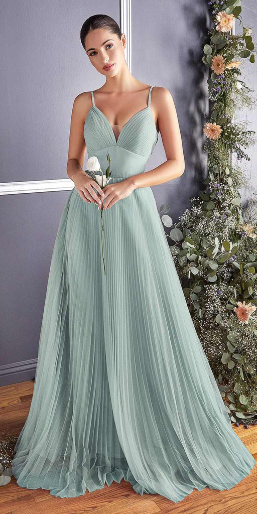 Cinderella Divine CD184 Long A-Line Tulle Dress Sage Gathered Sweetheart Neckline Pleated Finish
