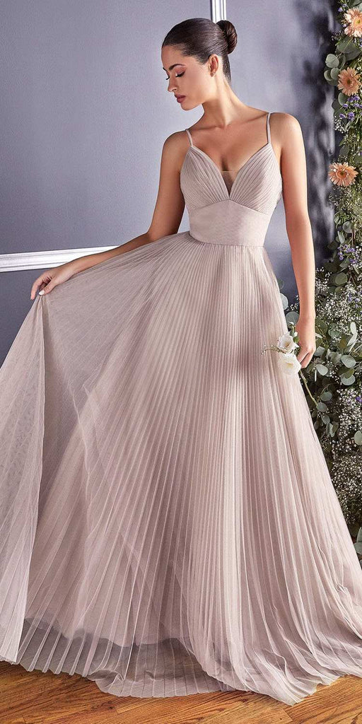Cinderella Divine CD184 Long A-Line Tulle Dress Sand Gathered Sweetheart Neckline Pleated Finish
