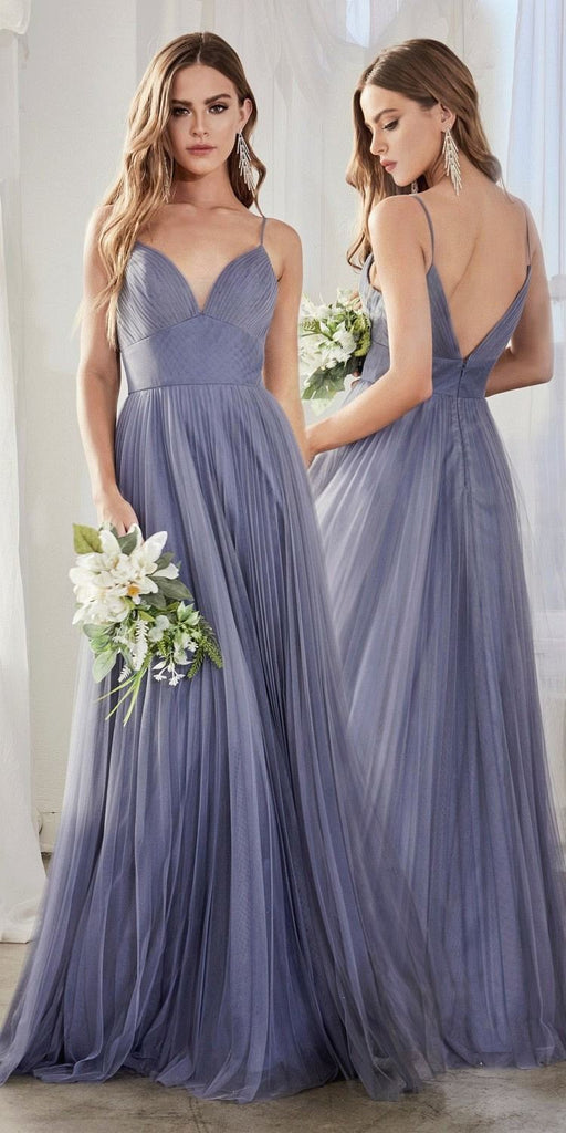 Cinderella Divine CD184 Long A-Line Tulle Dress Smokey Blue Gathered Sweetheart Neckline Pleated Finish