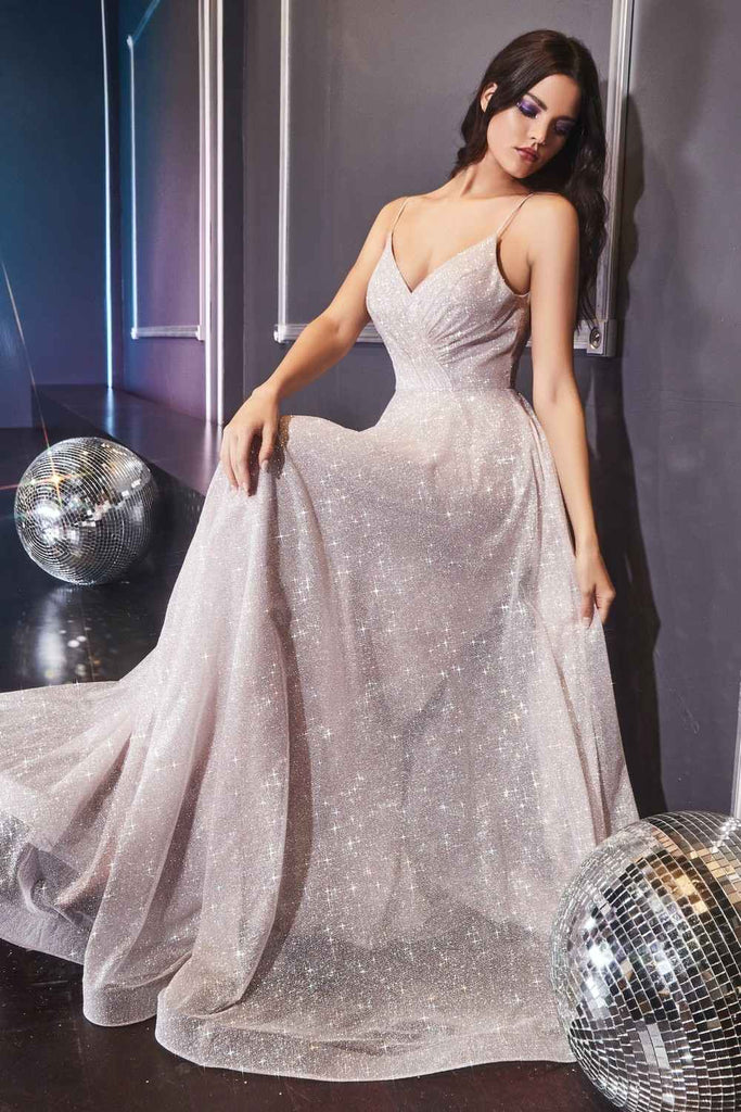 Cinderella Divine CD186 Long A-Line Glitter Flowy Gown Champagne Pleated Bodice V-Neckline