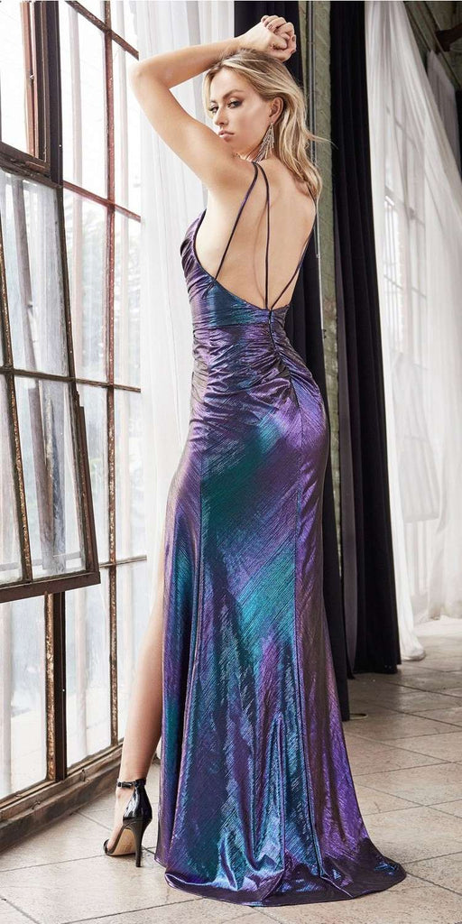 Cinderella Divine CD188 Long Slim Fit Metallic Dress With Cowl Neckline And Leg Slit