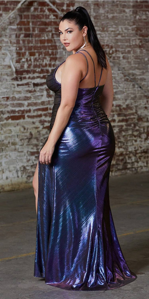 Long Slim Fit Metallic Dress With Cowl Neckline And Leg Slit