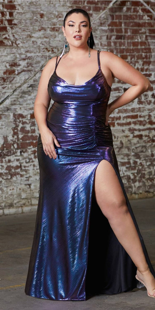 Plus Size Long Slim Fit Metallic Dress With Cowl Neckline And Leg Slit