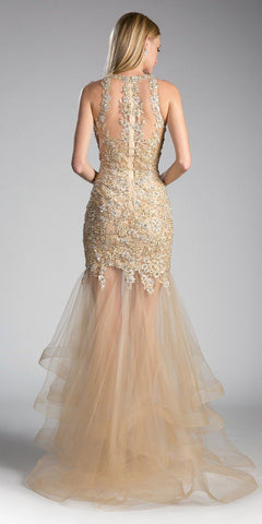 Cinderella Divine CD193 Beaded Lace Layered Tulle Mermaid Gown Gold Floor Length