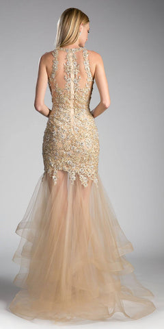 Appliqued Illusion Tiered Mermaid Prom Gown Gold