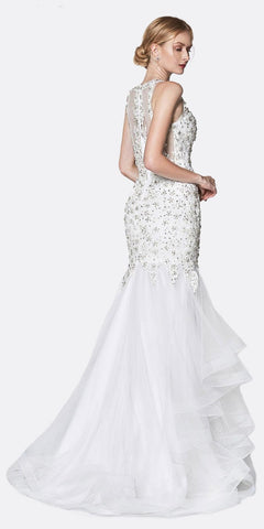 Cinderella Divine CD196 High Neckline Beaded White Mermaid Gown Layered Tulle Skirt