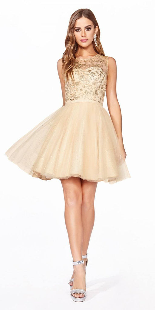 Cinderella Divine CD20 Glitter  Embellished Homecoming Short Dress Gold