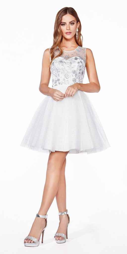 Cinderella Divine CD20 Glitter  Embellished Homecoming Short Dress Off White