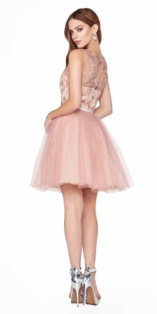 Cinderella Divine CD20 Glitter  Embellished Homecoming Short Dress Rose Gold