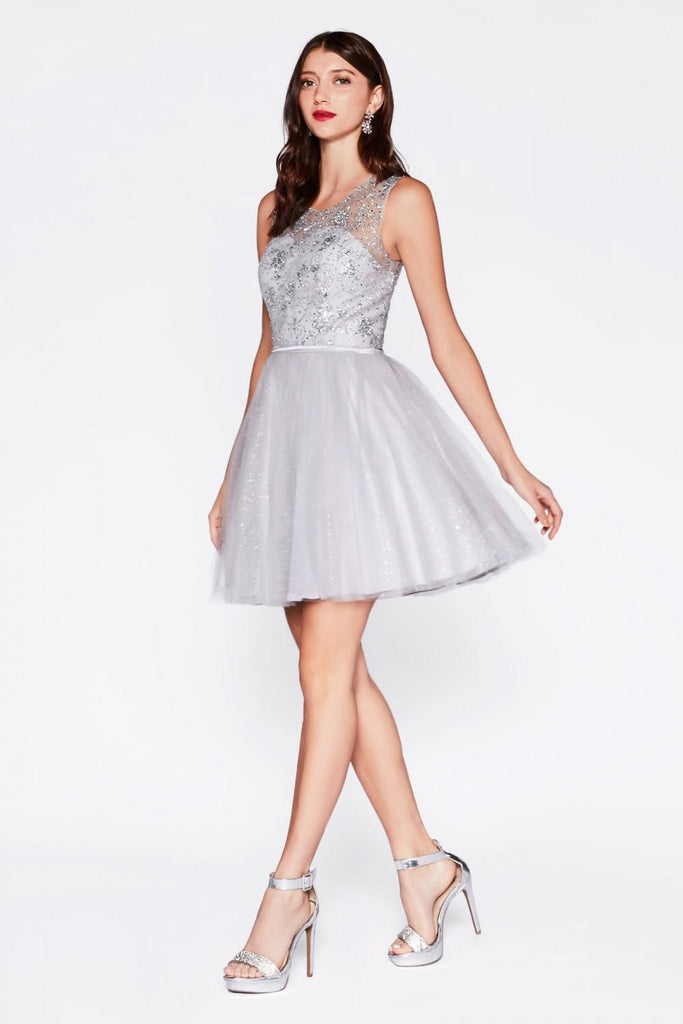 Cinderella Divine CD20 Glitter  Embellished Homecoming Short Dress Silver