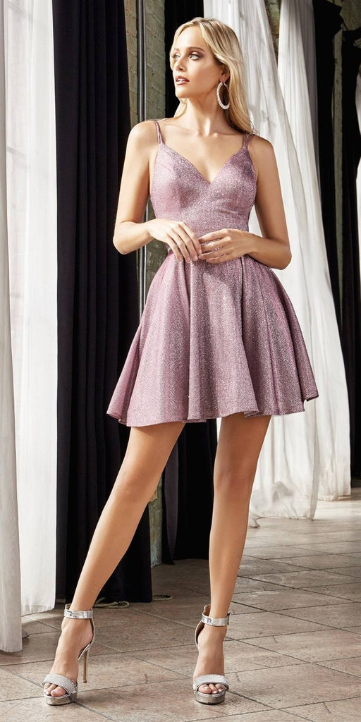 Cinderella Divine CD201 Short Cocktail Dress Opal Rose A-Line Metallic Sparkle Finish Beaded Belt