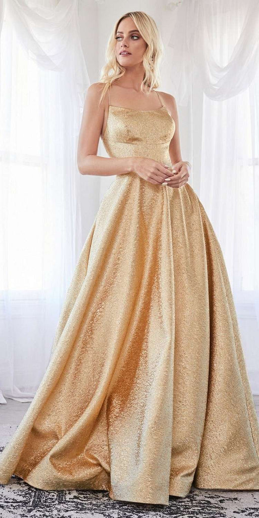 Cinderella Divine CD203 Long Ball Gown Gold Metallic Dress Straight Neckline Lace Up Open Back