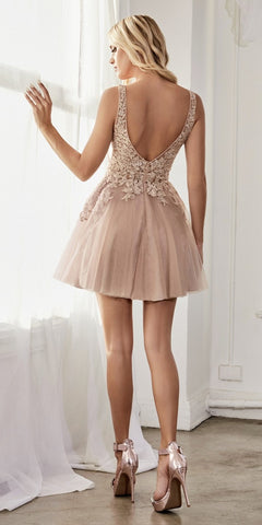 Cinderella Divine CD204 A-Line Short Dress Mauve Layered Tulle Skirt Embellished Lace Applique