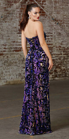 Cinderella Divine CD206 Sexy Long Strapless Sweetheart Sequin Printed Velvet Lace Up Back