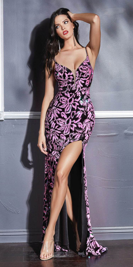 Cinderella Divine CD207 Floor Length Fitted Dress Rose Iridescent Sequin Print Velvet Finish