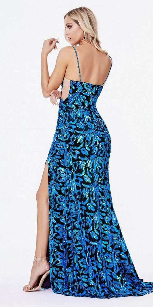 Cinderella Divine CD207 Floor Length Fitted Dress Teal Iridescent Sequin Print Velvet Finish