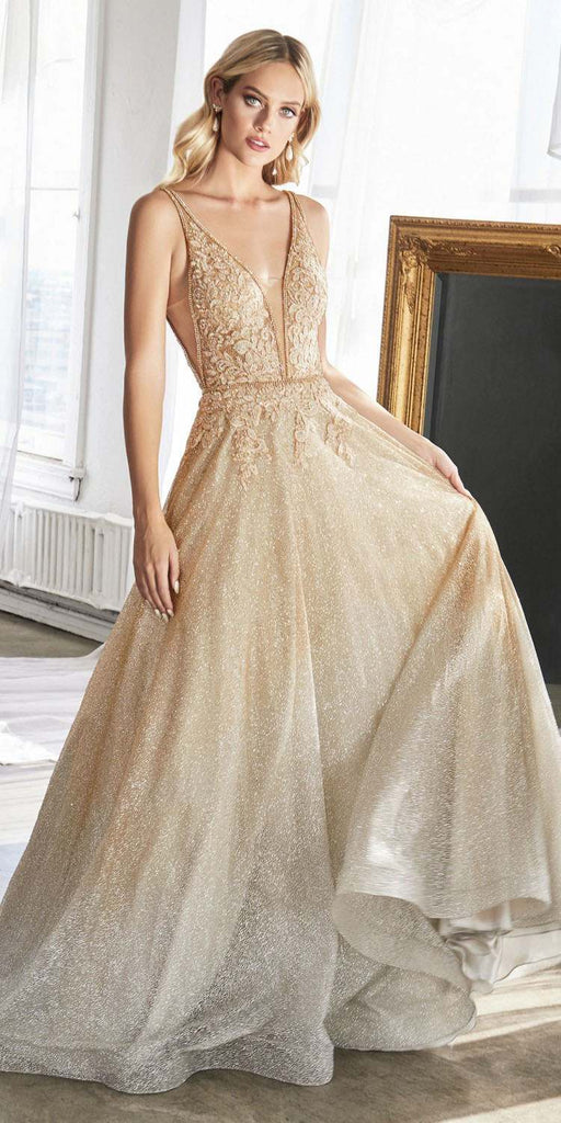 Cinderella Divine CD208 Long A-Line Ballgown Gold/Silver Ombre Glitter Finish Lace Beaded Bodice
