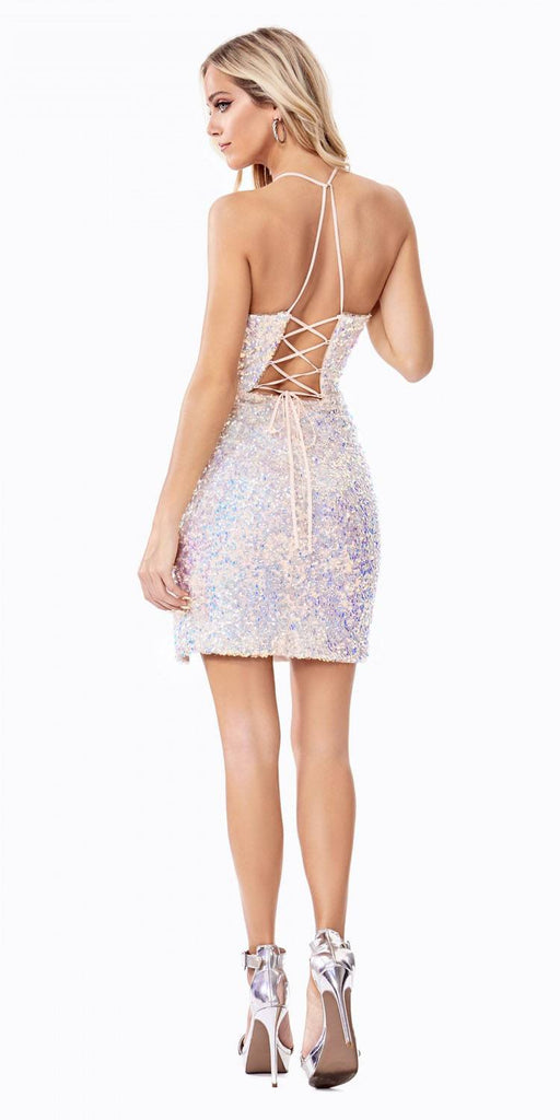 Cinderella Divine CD209s Fitted Iridescent Sequin Cocktail Dress Opal Blush Slit Lace Up Corset Back