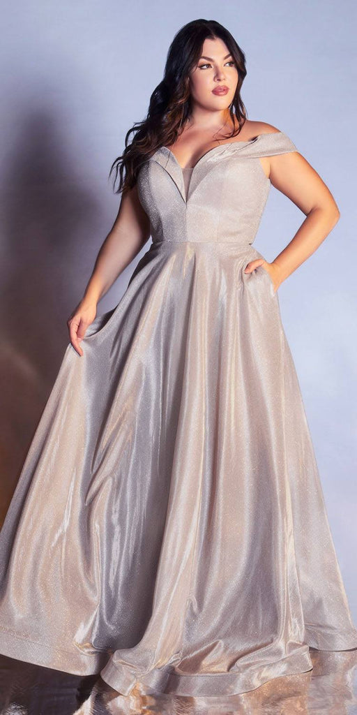Plus Size Off The Shoulder A-Line Gown Metallic Champagne Glitter Lace Up Back