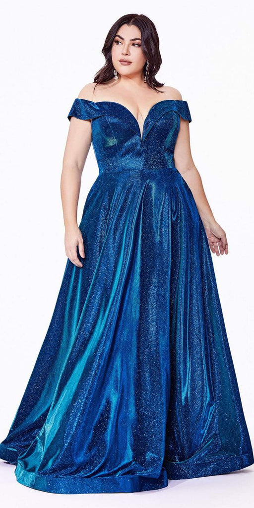 Cinderella Divine CD210 Plus Size Off The Shoulder A-Line Gown Metallic Blue Glitter Lace Up Back