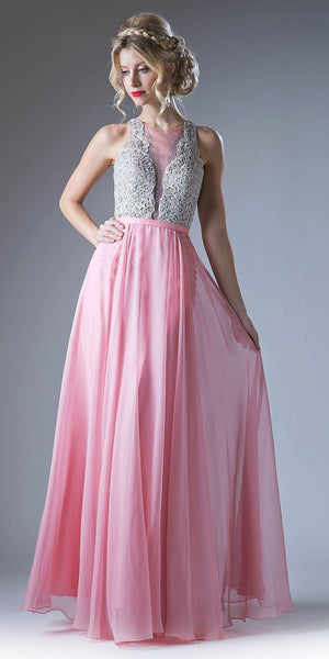 Cinderella Divine CD2121 Long Chiffon Prom Gown With Embroidered Bodice Illusion Neck Blush