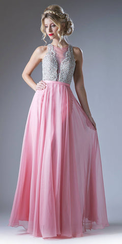 Long Chiffon Prom Gown With Embroidered Bodice Illusion Neck Blush