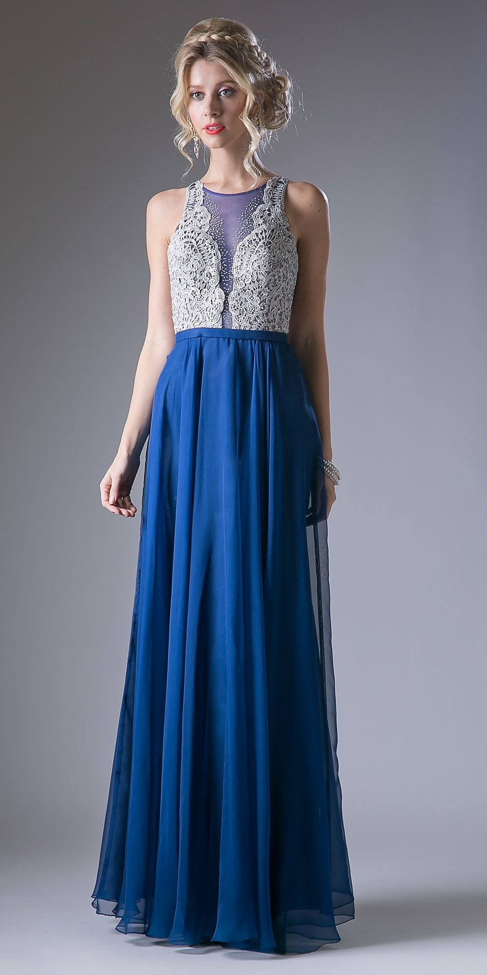Long Chiffon Prom Gown With Embroidered Bodice Illusion Neck Navy Blue