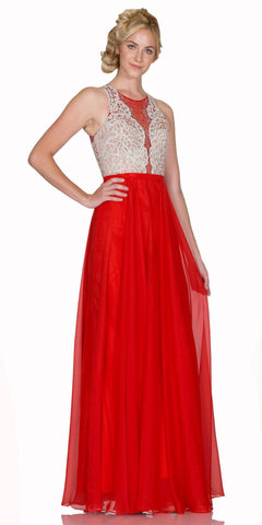 Long Chiffon Prom Gown With Embroidered Bodice Illusion Neck Red