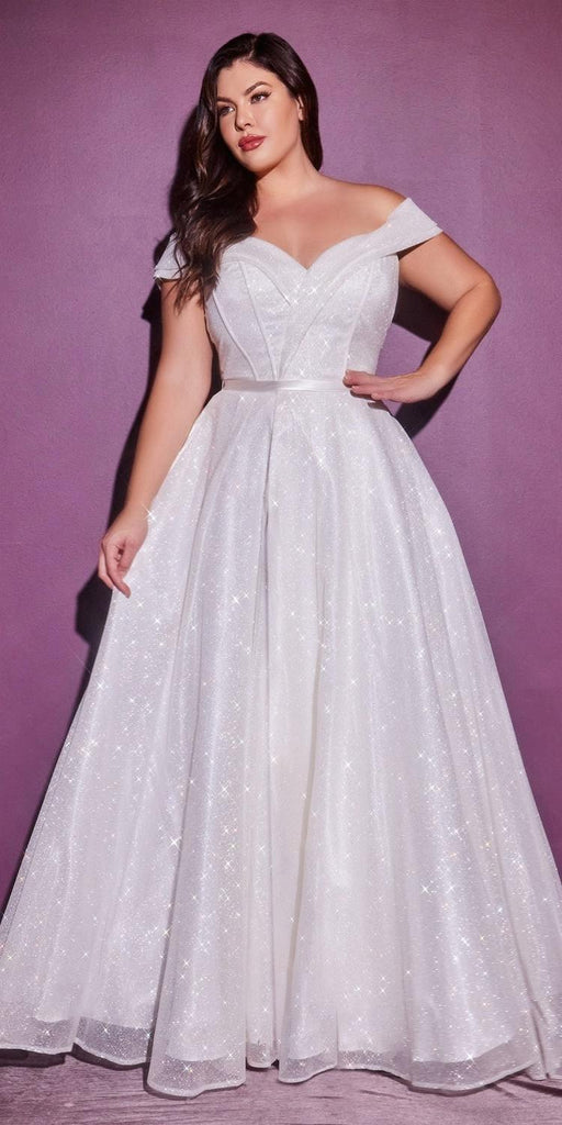 Cinderella Divine CD214 Floor Length Glitter A-Line Ball Gown Off The Shoulder With Leg Slit Plus Size