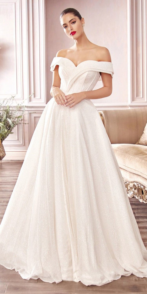 Cinderella Divine CD214 Floor Length Glitter A-Line Ball Gown Off The Shoulder With Leg Slit