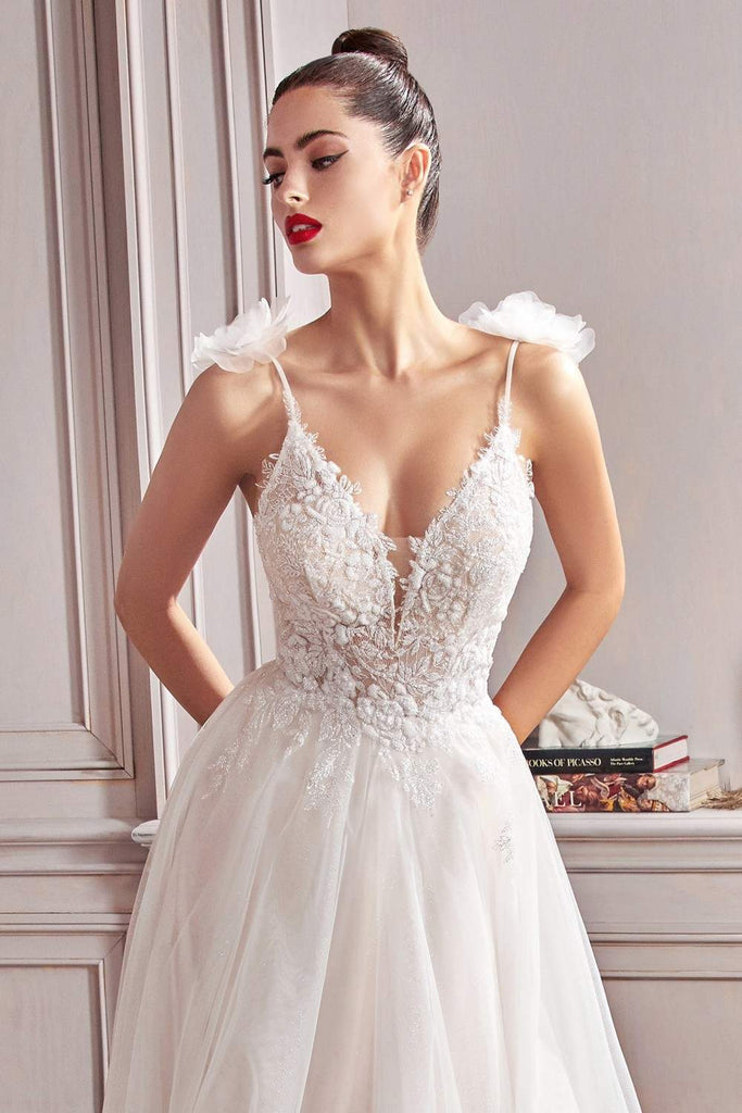 Cinderella Divine CD215 Long Soft Tulle A-Line Off White Bridal Dress Glitter Lace Bodice