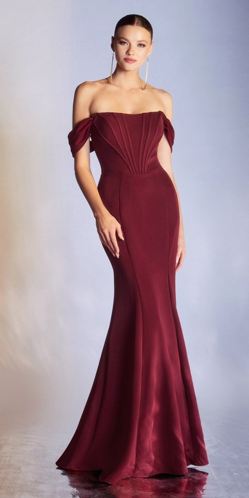 Cinderella Divine CD223 Long Detachable Off the Shoulder Strap Burgundy Gown Sheath