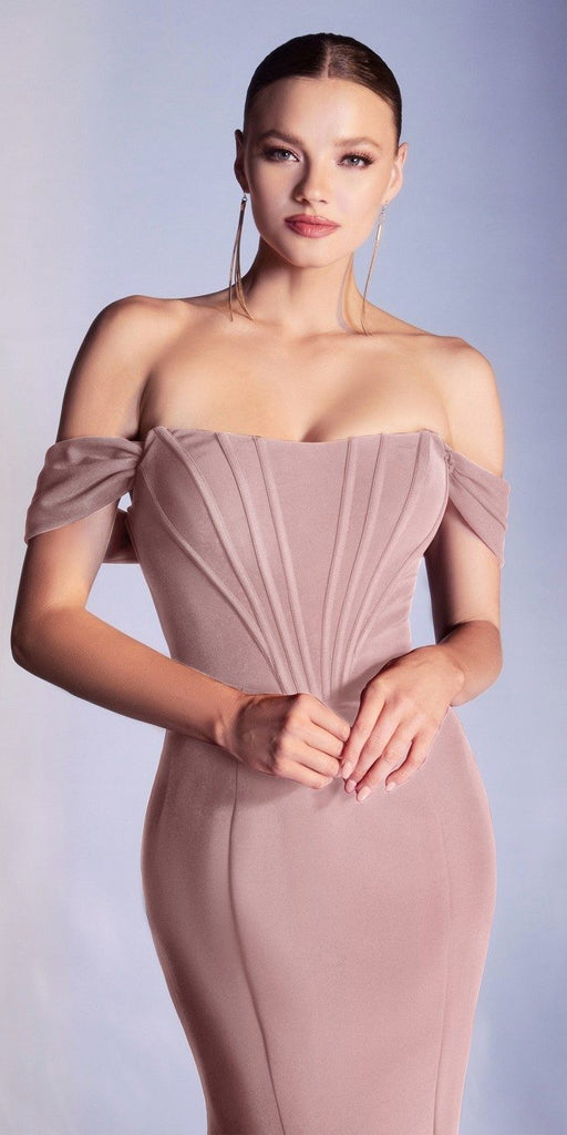Cinderella Divine CD223 Long Detachable Off the Shoulder Strap Mauve Gown Sheath