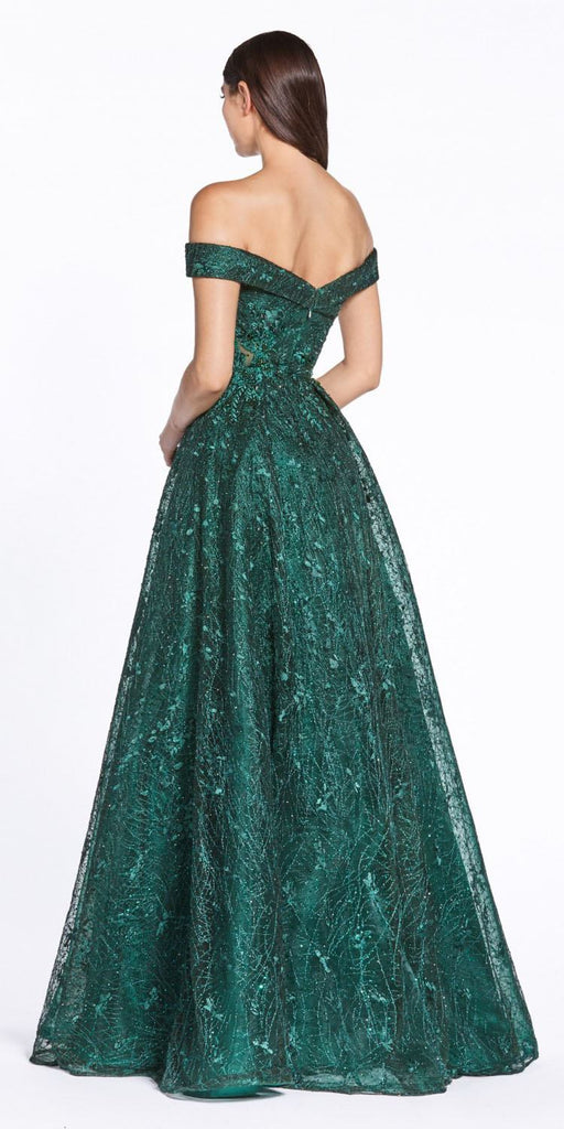 Cinderella Divine CD38 Off The Shoulder Emerald A-Line Ballgown Lace Sweetheart Neckline